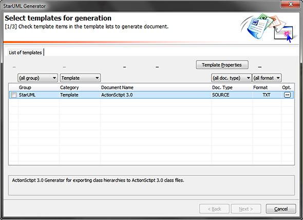 AS3 code generation with StarUML